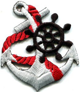 Anchor tattoo navy biker retro ship boat sea sew applique iron-on patch S-400