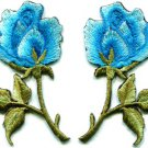 Blue roses pair flowers floral retro boho applique iron-on patch S-409 WE SHIP ANYWHERE FOR FREE!