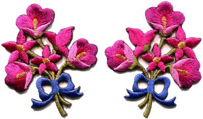 Hot pink lilies pair flowers floral bouquet boho applique iron-on patch S-411