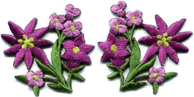 Purple lilies pair flowers floral bouquet boho applique iron-on patch S-416