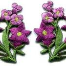 Purple lilies pair flowers floral bouquet boho applique iron-on patch S-416