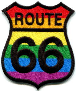 Route 66 gay pride rainbow muscle car americana USA applique iron-on patch S-269
