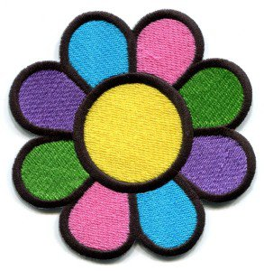 Flower power boho hippie retro love peace weed applique iron-on patch Medium S-116
