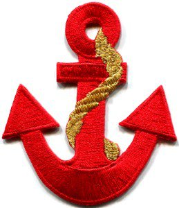 Anchor tattoo navy biker retro ship boat sea sew applique iron-on patch S-378