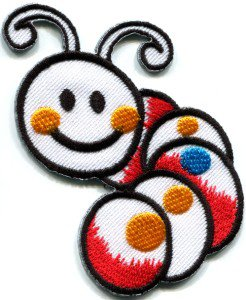 Caterpillar worm insect bug retro kids fun applique iron-on patch S-186