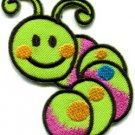 Caterpillar worm insect bug retro kids applique iron-on patch Small S-187