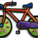 Bicycle retro bike cycle cyclist 70s kids fun applique iron-on patch S-331
