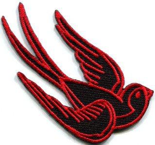 Bird tattoo swallow dove swiftlet sparrow biker applique iron-on patch S-357