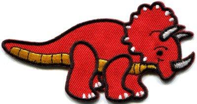 Triceratops Cretaceous dinosaur lizard kids fun applique iron-on patch red S-356