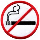 No Smoking sign symbol warning cigarette smoke applique iron-on patch S-592