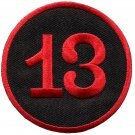 Lucky 13 thirteen biker retro emo punk rockabilly applique iron-on patch S-578