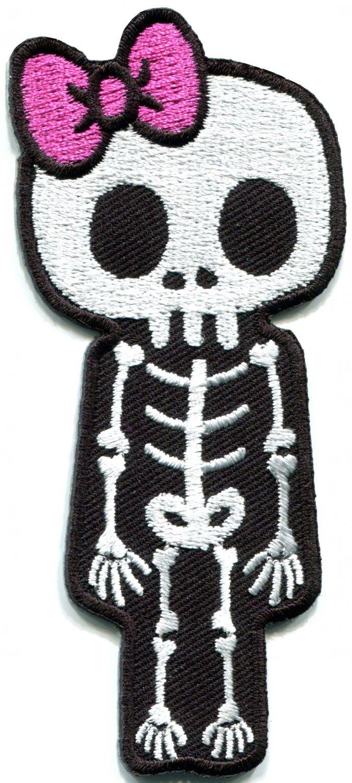 Skull skeleton goth punk emo horror biker tattoo applique iron-on patch S-451
