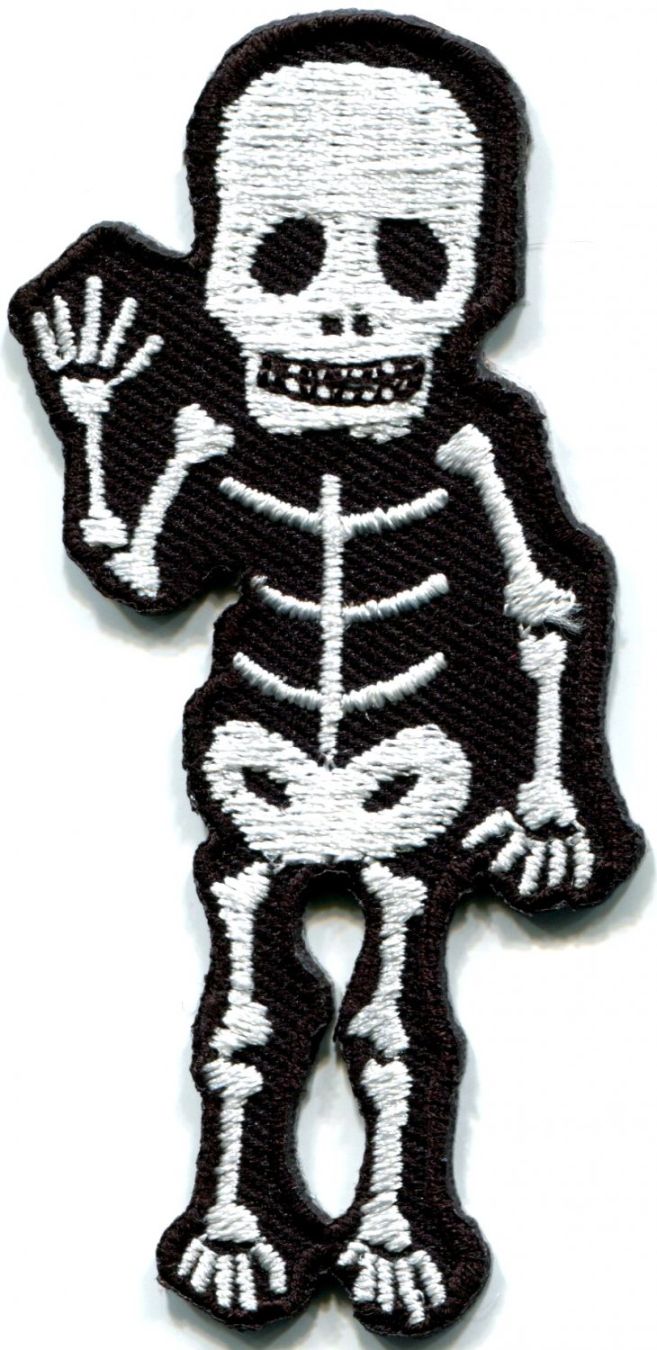 Skull skeleton goth horror applique iron-on patch FREE SHIPPING, NO LIMIT! S-267