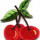 Cherry cherries fruit retro fun biker tattoo applique iron-on patch S-512