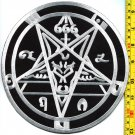 Satanic goats head pentagram baphomet occult XL HUGE 8 in. across applique iron-on patch G-1