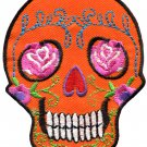 Skull tattoo biker horror goth punk emo rock retro applique iron-on patch G-31