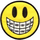 Smiley face smile braces boho 70's retro fun applique iron-on patch G-27
