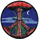 Mushroom peach sign hippie retro boho LSD shrooms applique iron-on patch G-46