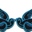 Lot of 2 bird tattoo swallow dove sparrow biker appliques iron-on patches blue