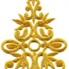 Gold trim fringe boho art deco sew embellishment applique iron-on patch S-533