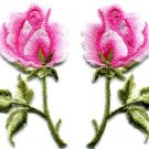 Pink roses pair flowers floral retro boho applique iron-on patch S-498 FREE SHIPPING WORLDWIDE!