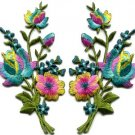 Rainbow roses pair flowers floral bouquet applique iron-on patch S-983 FREE WORLDWIDE DELIVERY!