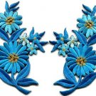 Baby blue daisies pair flowers floral bouquet boho applique iron-on patch S-728