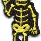 Skull skeleton goth punk emo horror biker tattoo applique iron-on patch S-493