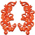 Orange trim fringe retro boho granny chic applique iron-on patches pair S-977