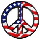 Peace sign American flag hippie retro peace love weed pot iron-on patch new S-27