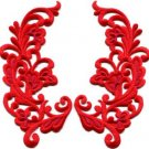 Red trim fringe retro boho granny chic applique iron-on patches pair new S-750