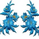 Blue flowers pair floral bouquet boho applique iron-on patches new S-1009