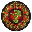 Aum om infinity lotus hindu yoga indian retro hippie applique iron-on patch T-2