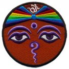 Aum om infinity hindu yoga eyes of Buddha applique iron-on patch BIG T-12
