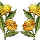 Yellow daisies pair flowers floral bouquet boho applique iron-on patch new S-724