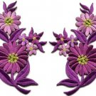 Purple daisies pair flowers floral bouquet boho applique iron-on patch new S-729