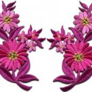 Hot pink daisies pair flowers floral bouquet boho applique iron-on patch S-727