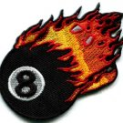 Flaming eight ball biker pool retro snooker applique iron-on patch new S-268