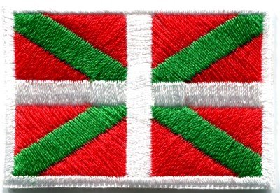 Flag of Ikurrina Basque Spain Spanish ensign applique iron-on patch Med. S-51