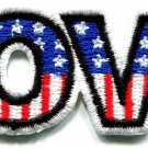 Love American flag retro hippie 70s weed embroidered appique iron-on patch S-40