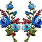 Blue roses pair flowers floral bouquet applique iron-on patch S-801 WE SHIP ANYWHERE FOR FREE!