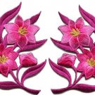Hot pink lilies pair flowers floral bouquet boho applique iron-on patches S-760