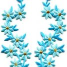 Baby blue flowers floral boho granny chic applique iron-on patches pair S-753