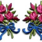 Mauve roses pair flowers floral bouquet retro boho applique iron-on patch S-520