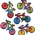 Lot of 5 bicycle retro bike cycle cyclist 70s kids fun applique iron-on patches