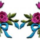 Mauve roses pair flowers floral bouquet boho retro applique iron-on patch S-548