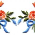 Peach roses pair flowers floral bouquet boho retro applique iron-on patch S-549