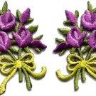 Lavender roses pair flowers floral bouquet boho applique iron-on patch S-522