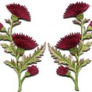 Deep red carnation spray pair flowers floral boho applique iron-on patches S-754
