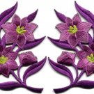 Lavender lilies pair flowers floral bouquet boho applique iron-on patches S-758